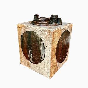 Jarrón alemán brutalista en forma de cubo de cerámica de Annette Merkenthaler, años 60