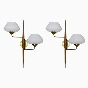 Opaline Glass Sconces from Lunel, 1950s, Set of 2