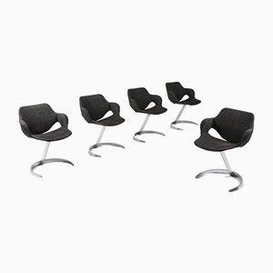 Sillas de escritorio vintage de Boris Tabacoff para Mobilier Modulaire Moderne, años 60. Juego de 5