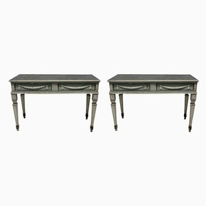 Antique Beech Console Tables, Set of 2
