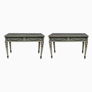 Tables Consoles Anciennes en Hêtre, Set de 2