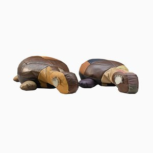 Vintage Leather Patchwork Turtle, 1960s, Set of 2