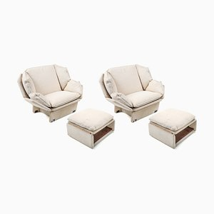 Cream Wool Lounge Chairs with Ottomans, 1970s, Set of 2