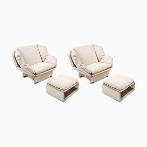 Sessel mit cremefarbenem Wollbezug & Fußhocker, 1970er, 2er Set