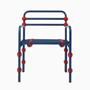 Italian Postmodern Red & Blue Armchair, 1980s