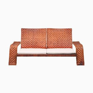 Sofá de cuero de dos plazas de Marzio Cecchi para Studio Most, años 70