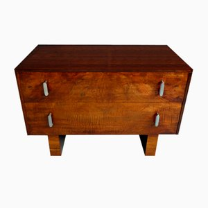 Cajonera Art Déco vintage de madera nudosa de madera nudosa