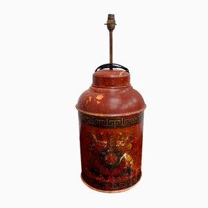 Große antike Teedosenlampe aus Blech