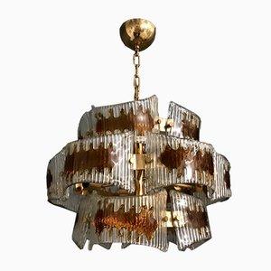 Lámpara de araña de cristal de Murano de Mazzega para murano, años 70
