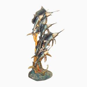 Schwertfisch Bronzeskulptur von V. Salmone, 1974