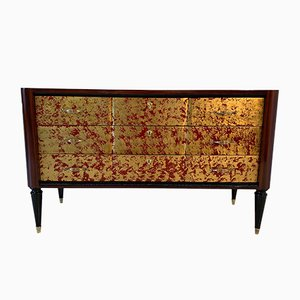 Red Lacquered & Gold Leaf Dresser, 1950s