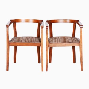Walnut Armchairs, 1920s, Set of 2