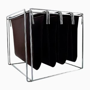 Chrome and Brown Leather Magazine Rack by Max Sauze, 1980s