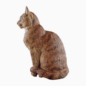 Große Katzenskulptur aus Keramik von Gudrun Lauesen für Royal Copenhagen, 1970er