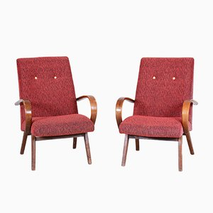 Red & Beech Armchairs, 1950s, Set of 2