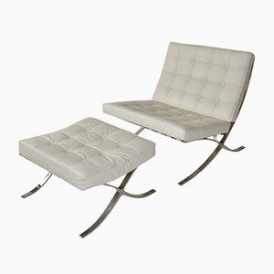 Lounge Chair and Ottoman, 1980s, Set of 2