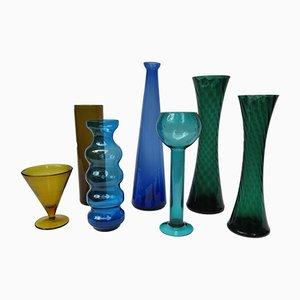 Jarrones Mid-Century de vidrio. Juego de 7