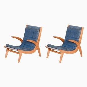 Sessel mit Gestell aus Eschenholz von Jan Vanek, 1950er, 2er Set