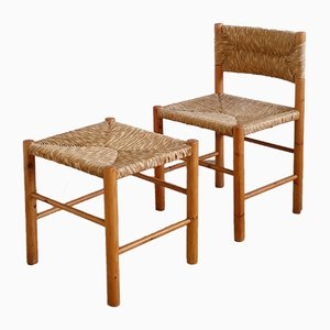 Chaise en Pin et Jonc avec Tabouret, années 60, Set de 2