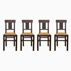 Esszimmerstühle mit Holzgestell & Sitzgeflecht, 1950er, 4er Set