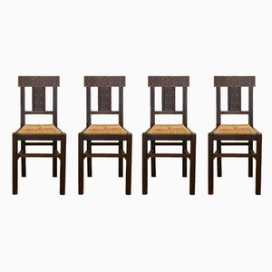 Wood & Rope Dining Chairs, 1950s, Set of 4