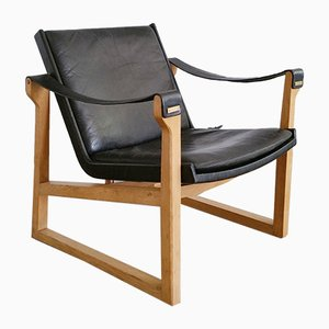 Oak and Leather Lounge Chair by Ebbe and Karen Clemmensen for Fritz Hansen, 1966