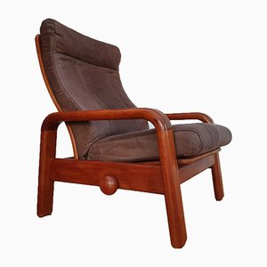 Danish Teak & Leather Lounge Chair from HS Design, 1980s