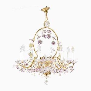 Lámpara de araña francesa floral y de cristal de Maison Baguès, años 50