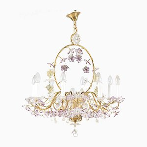 Lustre Floral en Cristal de Maison Baguès, France, années 50