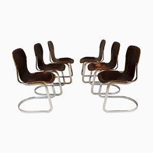 Chaises de Salle à Manger en Chrome et Cuir par Willy Rizzo pour Cidue, années 70, Set de 6