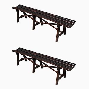 Italian Wooden Benches, 1950s, Set of 2