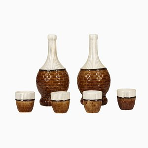 Italian Wine Service from Cedar, 1950s, Set of 6