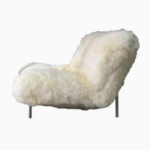 Sillón vintage de piel de oveja de Pascal Mourgue para Cinna, años 80