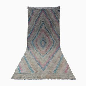 Alfombra de pasillo Kilim turca bordada, años 70
