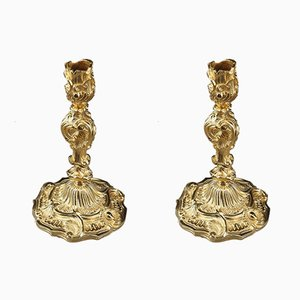Antique Gilt Bronze Chandeliers, Set of 2