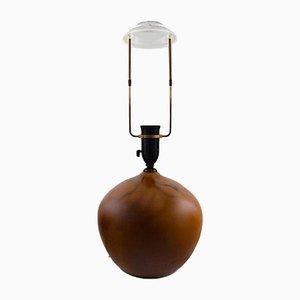 Glasierte Art Déco Tischlampe aus Steingut von Kähler, 1940er