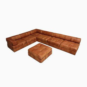 Cognac Leather DS88 Sofa with Pouf, 1970s, Set of 2