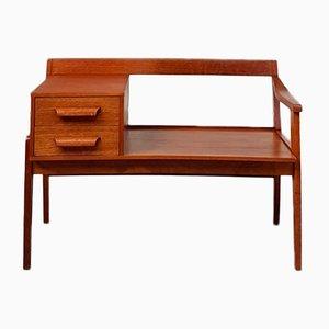 Set aus Telefontisch & Hocker aus Teak, 1970er