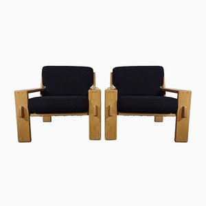 Finnish Oak Lounge Chairs by Esko Pajamies for Asko, 1960s, Set of 2