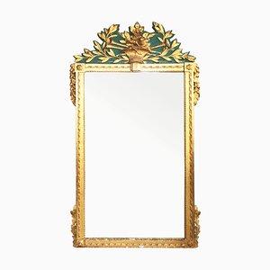 Großer antiker Spiegel mit grünem Dekor