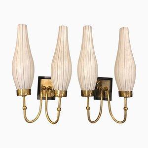 Brass & Murano Glass Sconces, 1950s, Set of 2