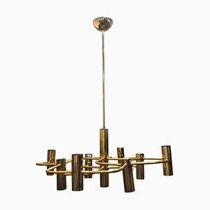 Moderne italienische Mid-Century Deckenlampe aus Messing von Gaetano Sciolari für Sciolari