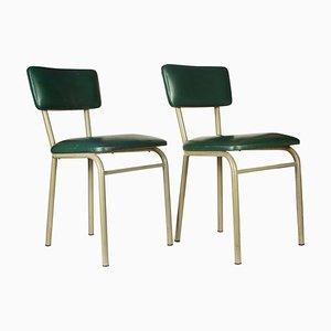 Chaises de Bureau en Métal et Simili Cuir Vert, 1970s, Set de 2