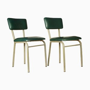 Sedie da scrivania in metallo e similpelle verde, anni '70, set di 2