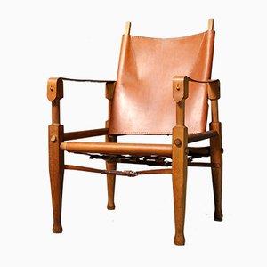 Mid-Century Leather Safari Armchair by Wilhelm Kienzle for Wohnbedarf