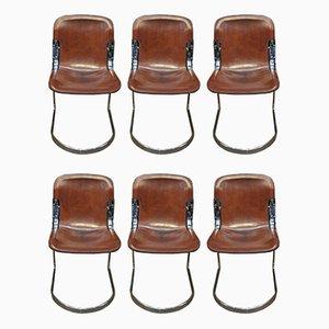 Esszimmerstühle mit verchromtem Gestell & Sitz aus Leder von Willy Rizzo für Cidue, 1970er, 6er Set