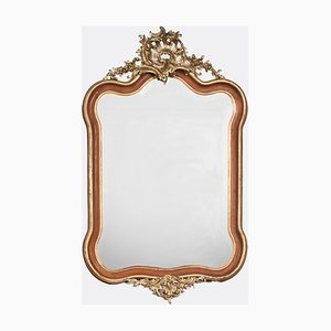 Antiker Italienischer Rokoko Spiegel mit vergoldetem Holzrahmen