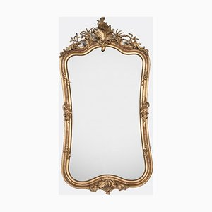 Large Antique Rococo Giltwood-Framed Mirror