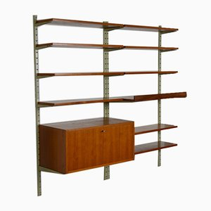 Vintage Swedish Teak Veneer Wall Unit, 1960s