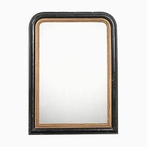 Antiker französischer Spiegel mit ebonisiertem & vergoldetem Holzrahmen